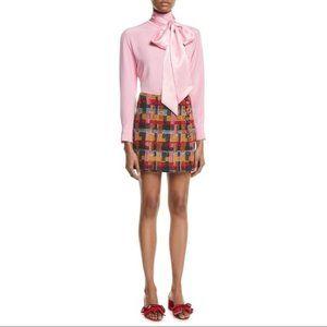 Adam Lippes Plaid Tweed Mini Wrap Skirt Size 4